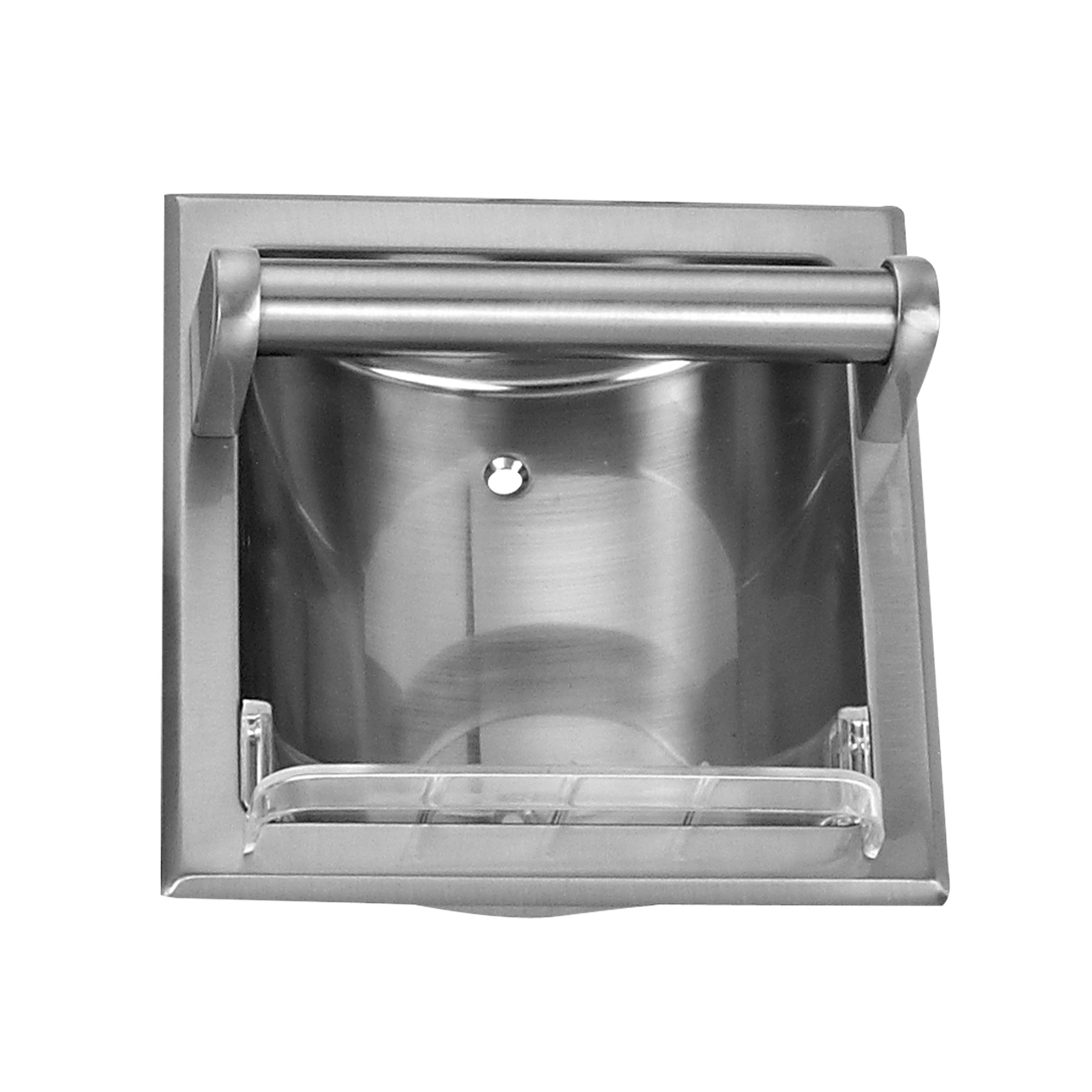 Picture of Boston Harbor 770H-07-SOU Soap Holder with Grab Bar, Recessed Mounting, Metal, Silver