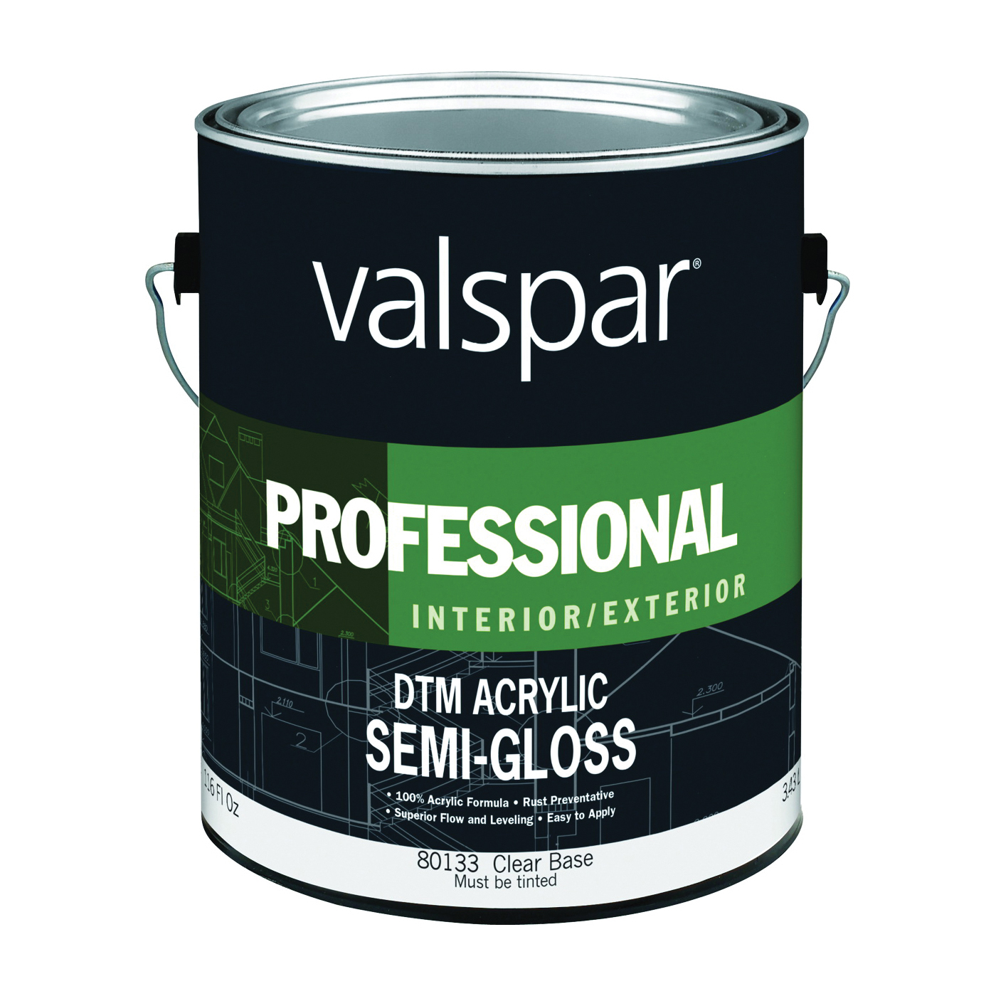 Picture of Valspar 80133 DTM Acrylic Topcoat, Semi-Gloss, Clear, 1 gal, Pail