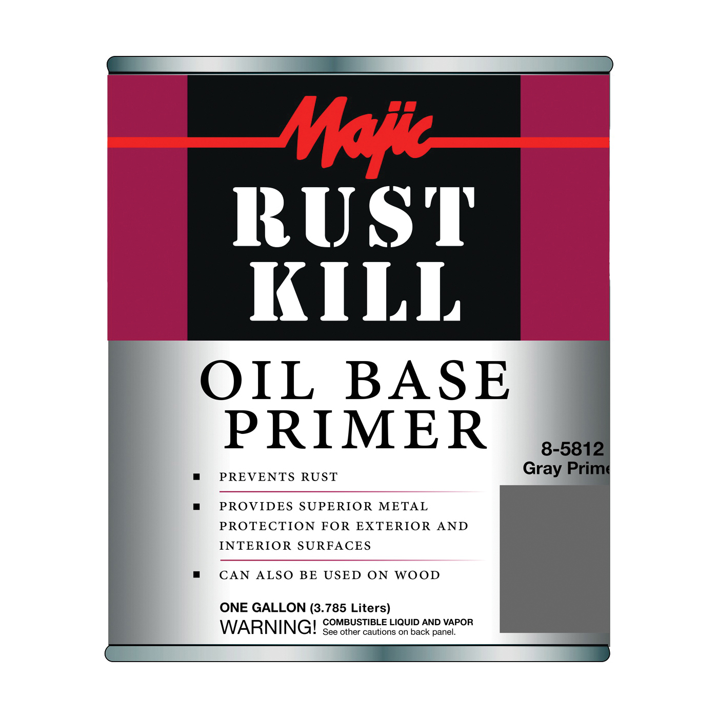 Picture of Majic Paints 8-5812-1 Rust-Preventative Primer, Matte, Gray, 1 gal, Pail