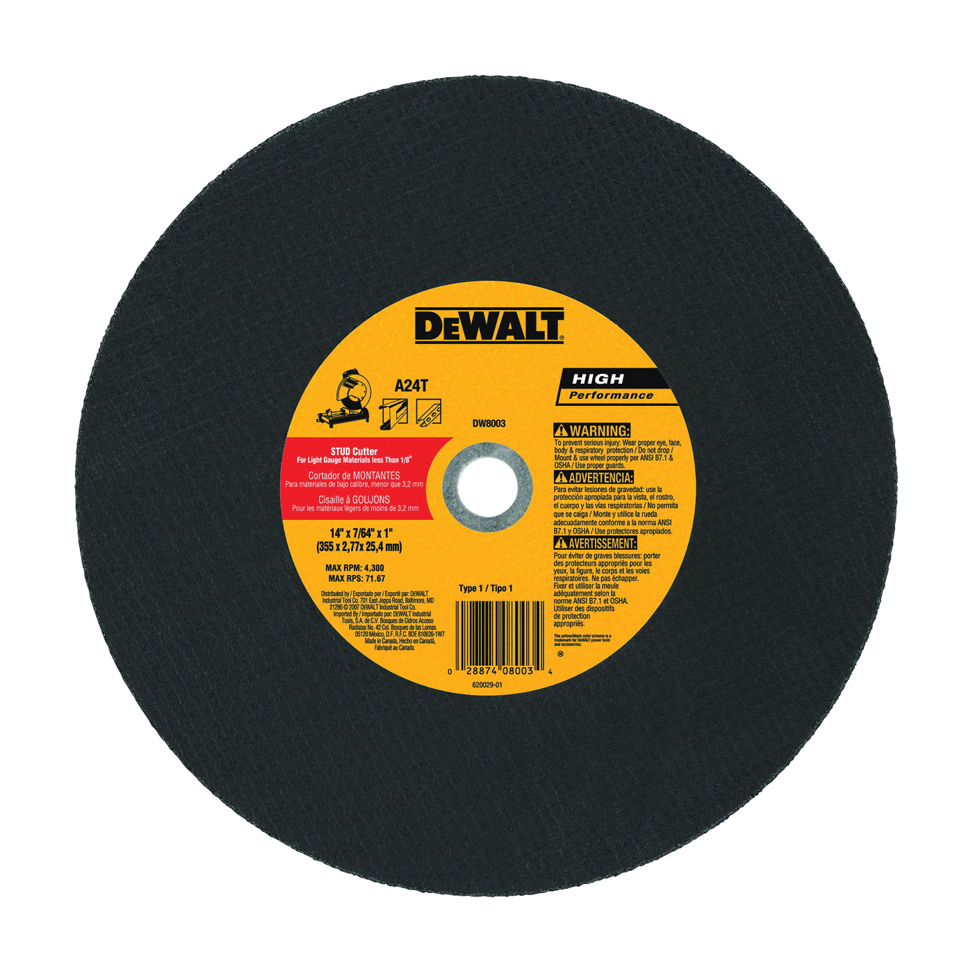 Picture of DeWALT DW8003 Cutting Wheel, 14 in Dia, 7/64 in Thick, 1 in Arbor, Coarse, Aluminum Oxide Abrasive
