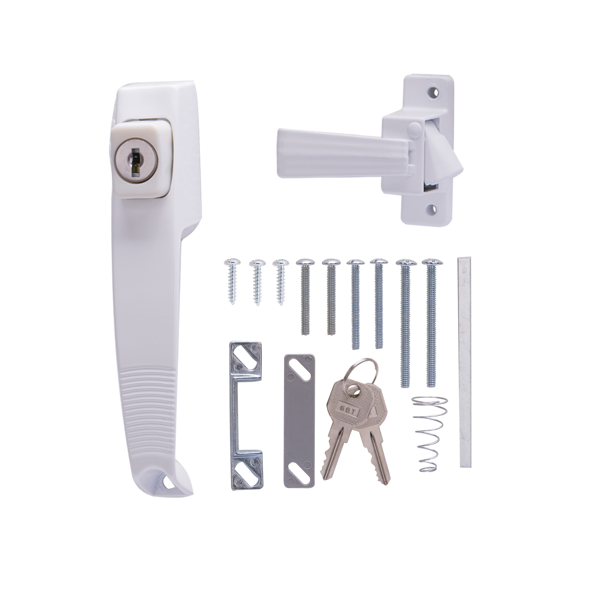 Picture of ProSource 47015-UKW-PS Pushbutton Latch, Powder-Coated, 5/8 to 1-1/2 in Thick Door