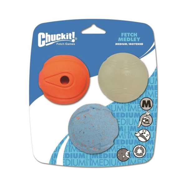 Picture of Chuckit! 0520520 Fetch Medley, M, Natural Rubber, Multi-Color