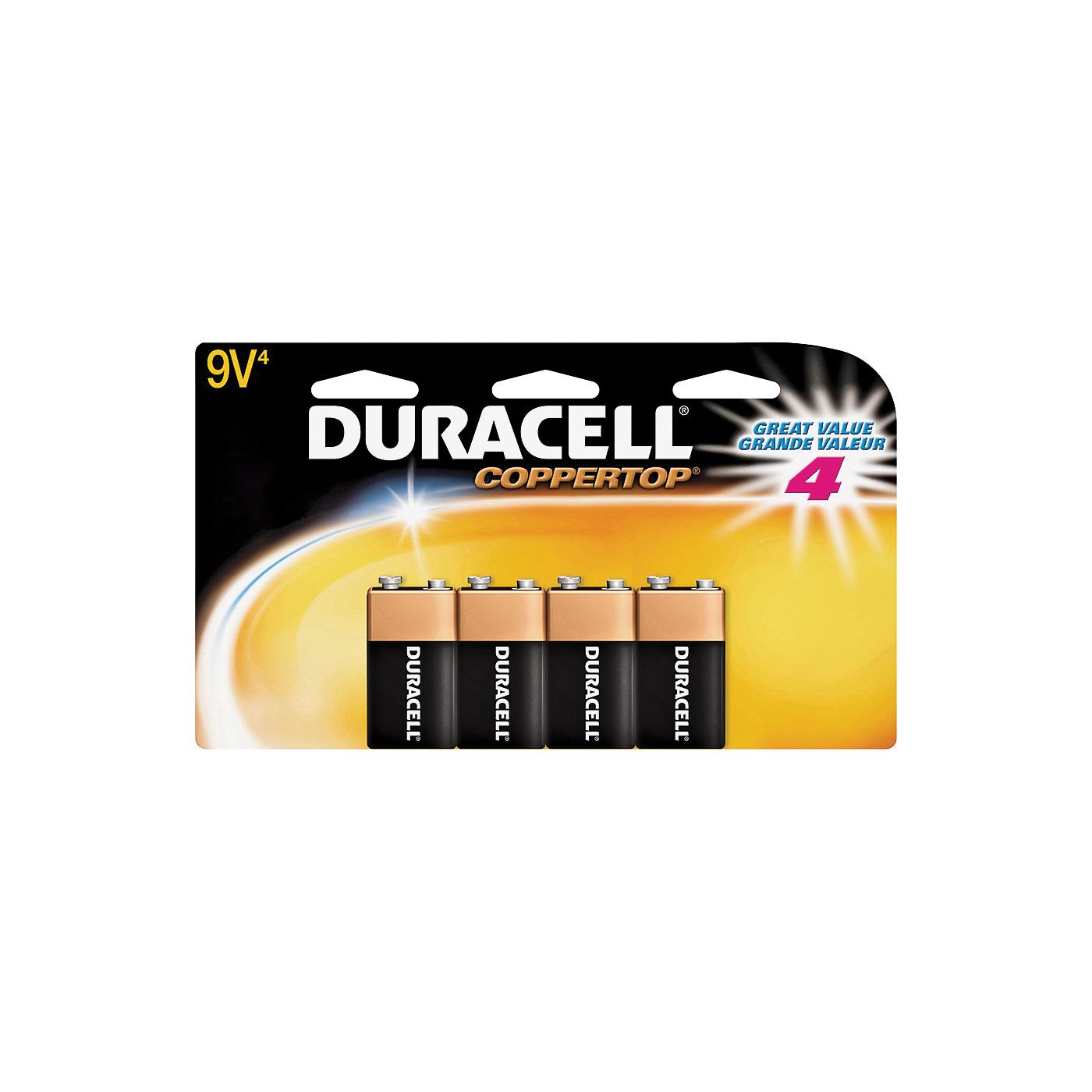 Picture of DURACELL 41333935645 Alkaline Battery, 9 V Battery, 9 V Battery, Manganese Dioxide, 4/PK