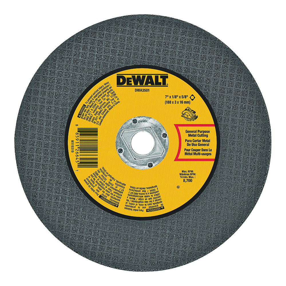 Picture of DeWALT DWA3501 Cutting Wheel, 7 in Dia, 1/8 in Thick, 5/8 in Arbor, Aluminum Oxide Abrasive