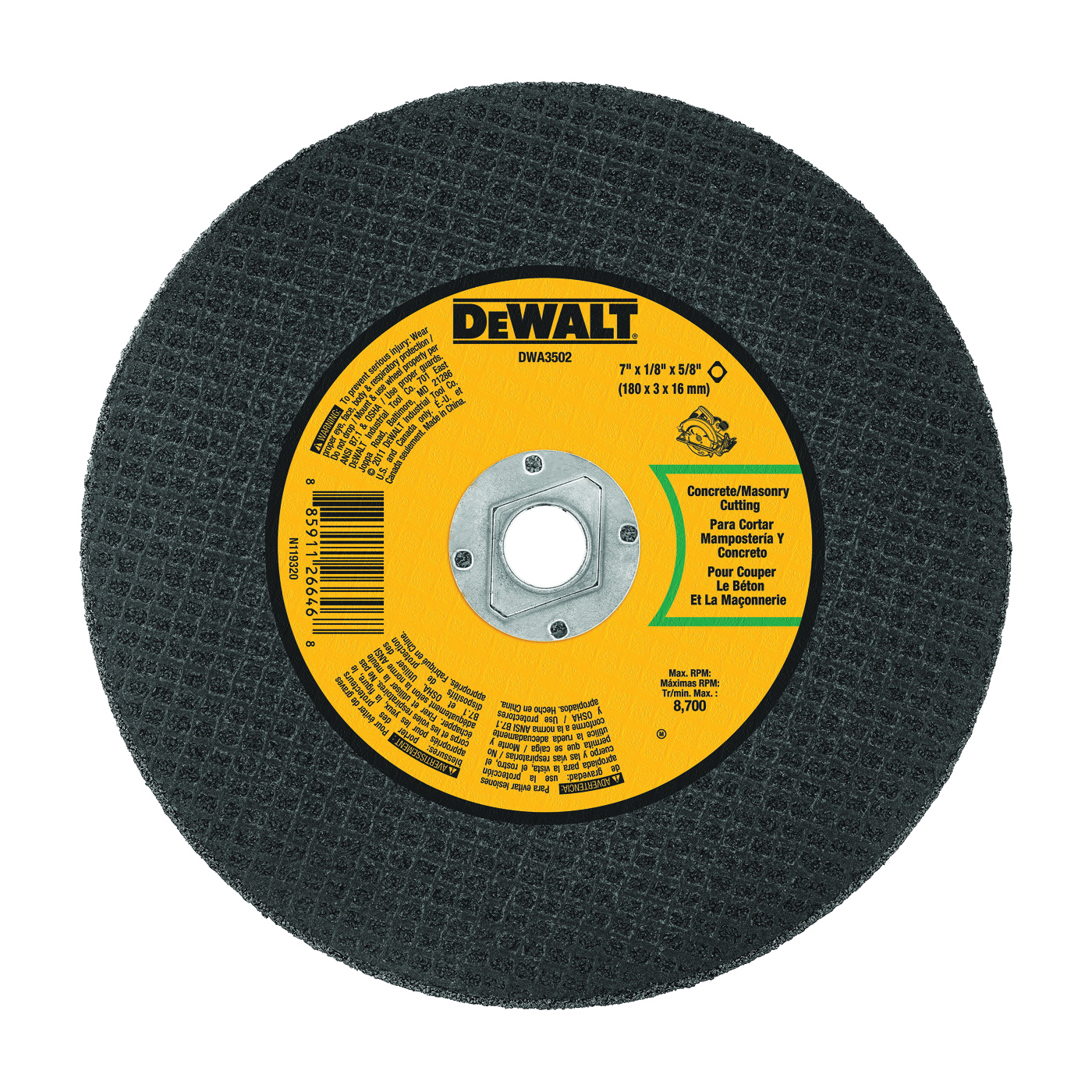 Picture of DeWALT DWA3502 Cutting Wheel, 7 in Dia, 1/8 in Thick, 5/8 in Arbor, Aluminum Oxide Abrasive