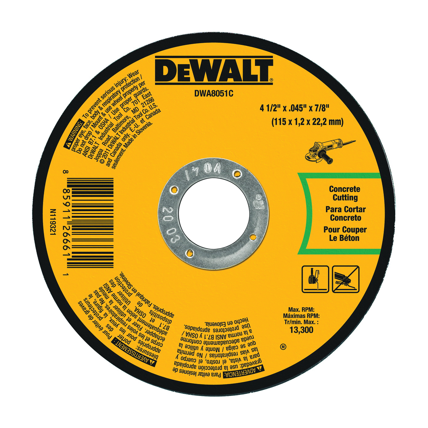 Picture of DeWALT DWA8051C Cutting Wheel, 4-1/2 in Dia, 0.045 in Thick, 7/8 in Arbor, Aluminum Oxide Abrasive