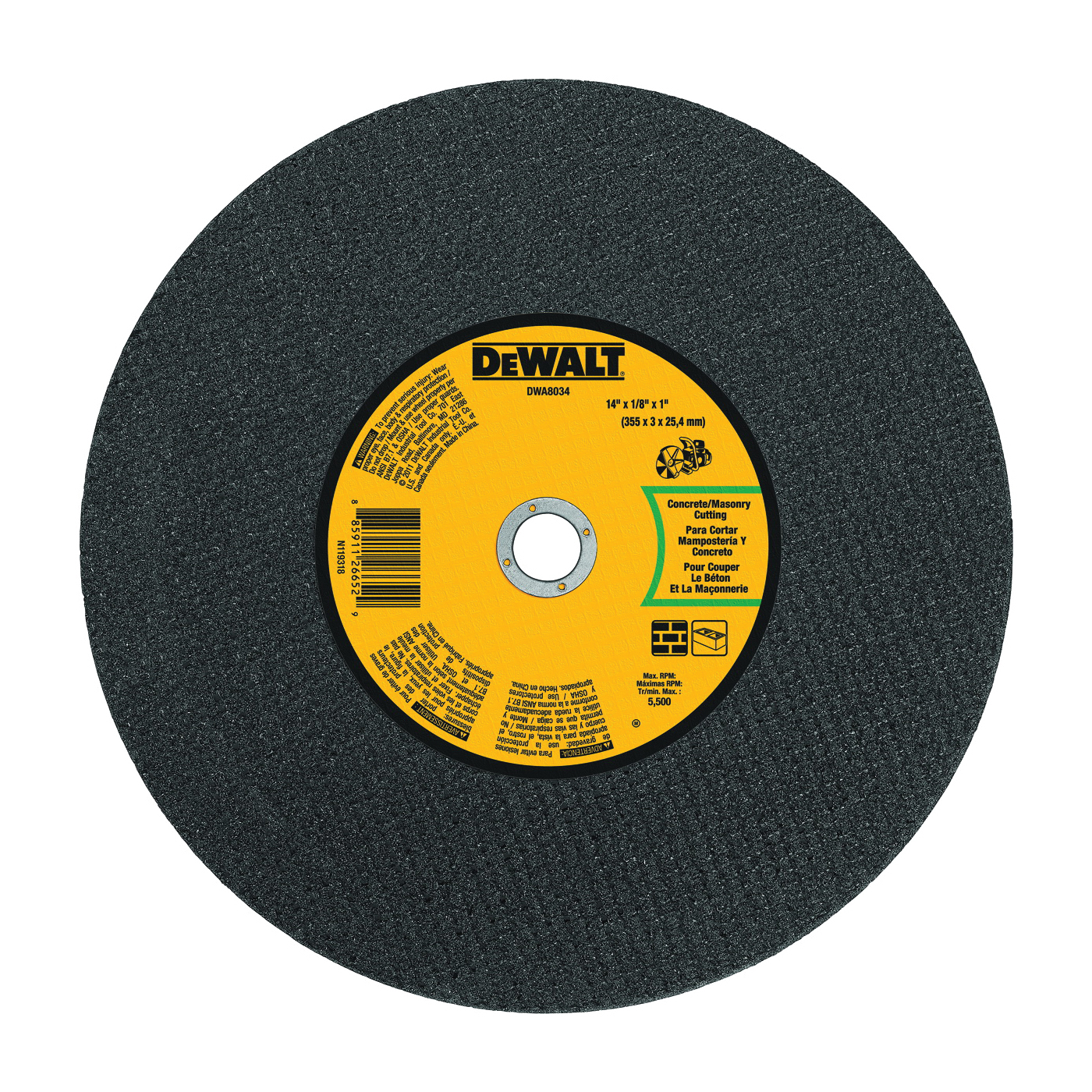 Picture of DeWALT DWA8034 Cutting Wheel, 14 in Dia, 1/8 in Thick, 1 in Arbor, Coarse, Silicone Carbide Abrasive