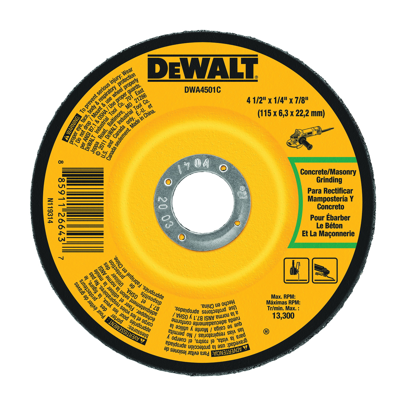 Picture of DeWALT DWA4501C Grinding Wheel, 4-1/2 in Dia, 1/4 in Thick, 7/8 in Arbor, 24 Grit, Aluminum Oxide Abrasive
