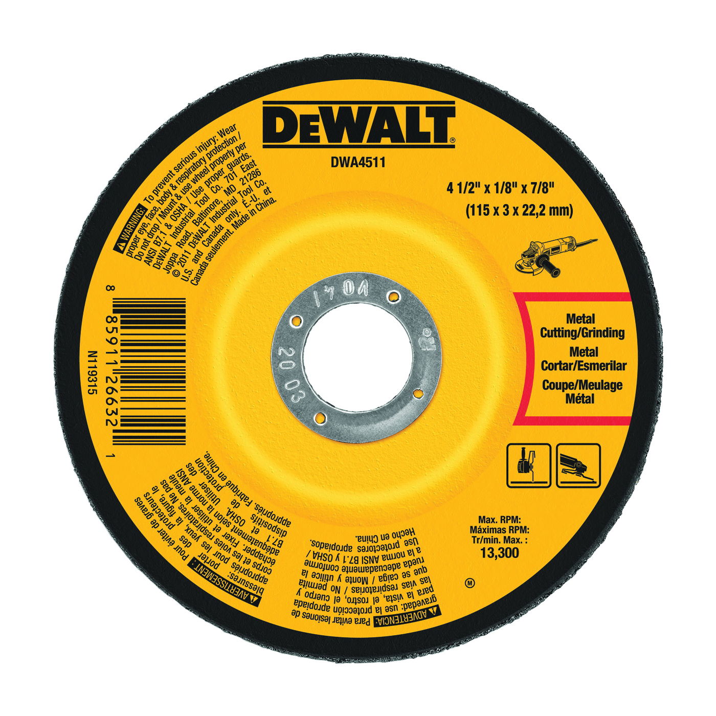 Picture of DeWALT DWA4511 Grinding Wheel, 4-1/2 in Dia, 1/8 in Thick, 7/8 in Arbor, 24 Grit, Aluminum Oxide Abrasive