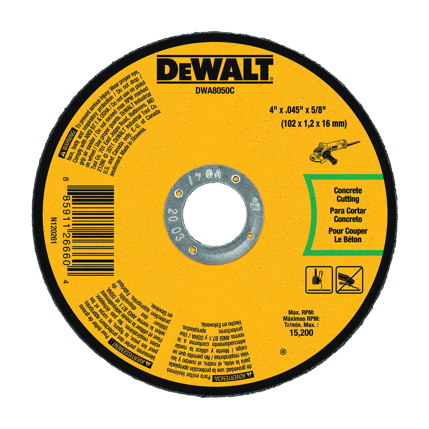 Picture of DeWALT DWA8050C Cutting Wheel, 4 in Dia, 0.045 in Thick, 5/8 in Arbor, Aluminum Oxide Abrasive