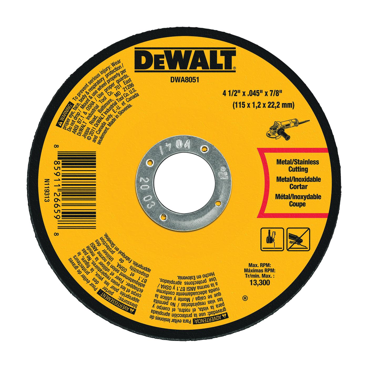 Picture of DeWALT DWA8051 Cutting Wheel, 4-1/2 in Dia, 29/64 in Thick, 7/8 in Arbor, Medium, Aluminum Oxide Abrasive