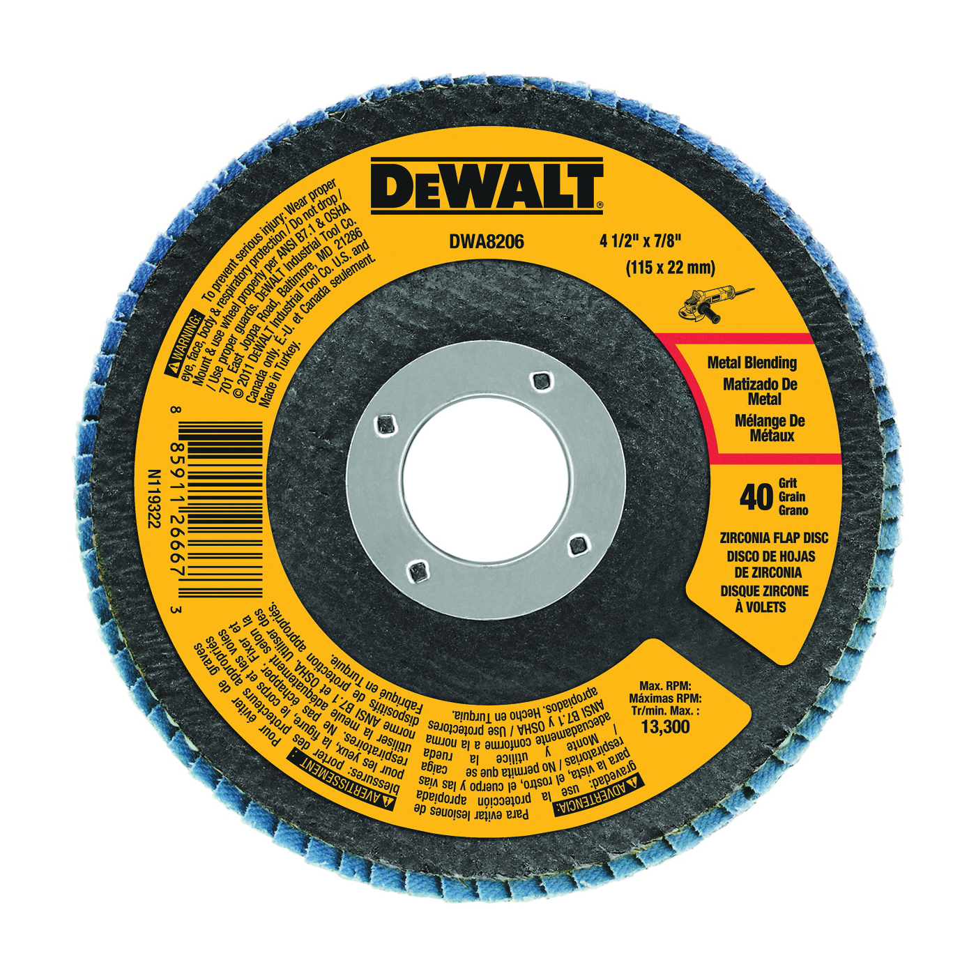 Picture of DeWALT DWA8206 Flap Disc, 4-1/2 in Dia, 7/8 in Arbor, Coated, 40 Grit, Zirconium Oxide Abrasive