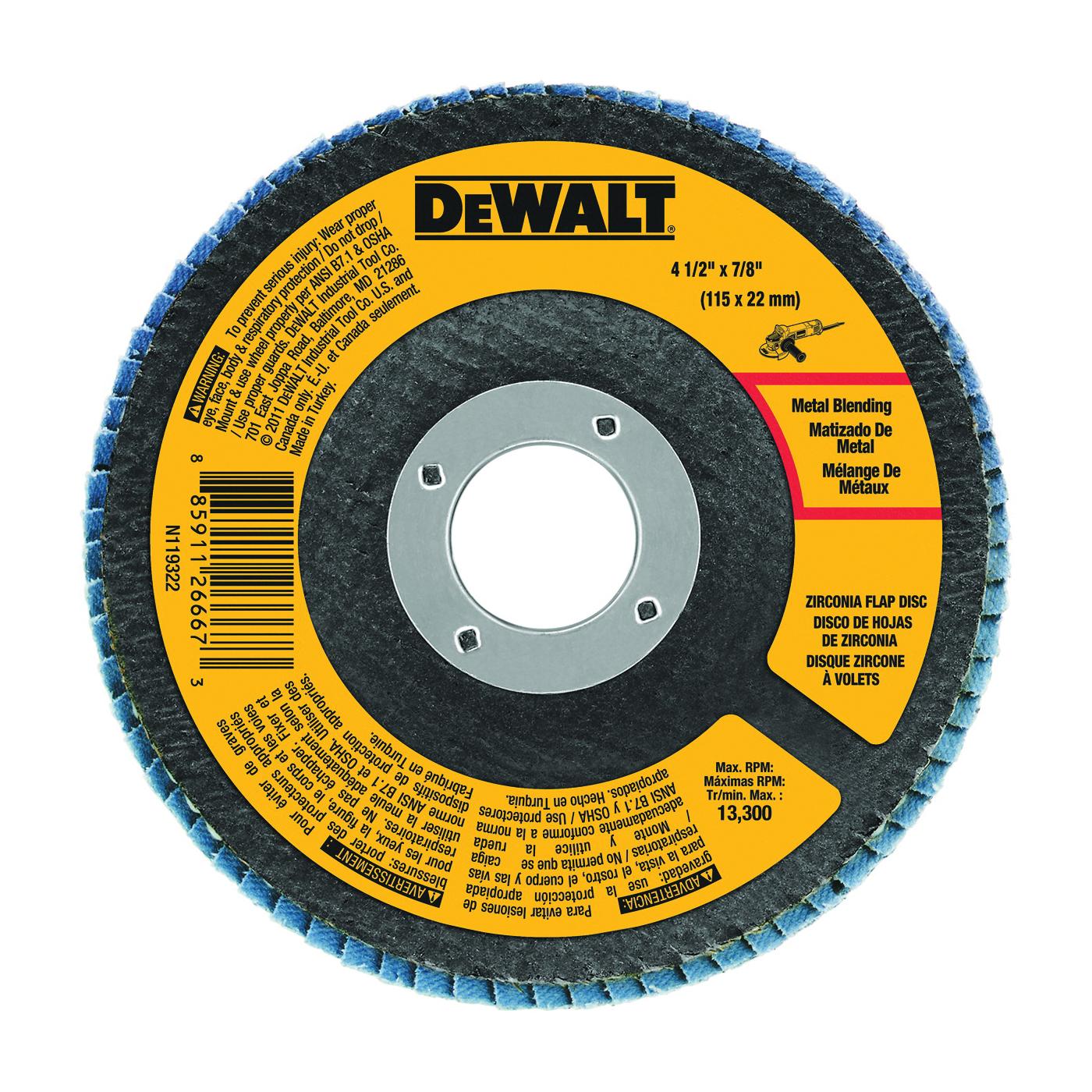 Picture of DeWALT DWA8207 Flap Disc, 4-1/2 in Dia, 7/8 in Arbor, Coated, 60 Grit, Zirconia Abrasive, Fiberglass Backing