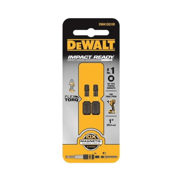 Picture of DeWALT DWA1SQ1IR Insert Bit, #1 Drive, Square Drive, 1/4 in Shank, Hex Shank, 1 in L, S2 Modified Steel