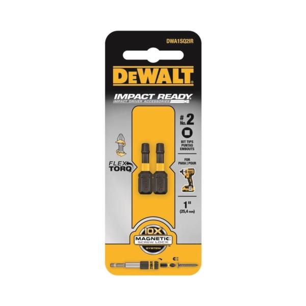 Picture of DeWALT DWA1SQ2IR Insert Bit, #2 Drive, Square Drive, 1/4 in Shank, Hex Shank, 1 in L, S2 Modified Steel