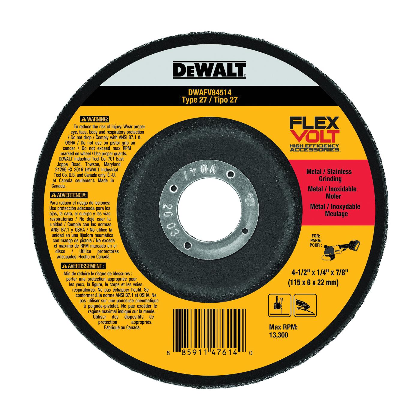 Picture of DeWALT DWAFV84514 Grinding Wheel, 4-1/2 in Dia, 1/4 in Thick, 7/8 in Arbor, Ceramic Abrasive