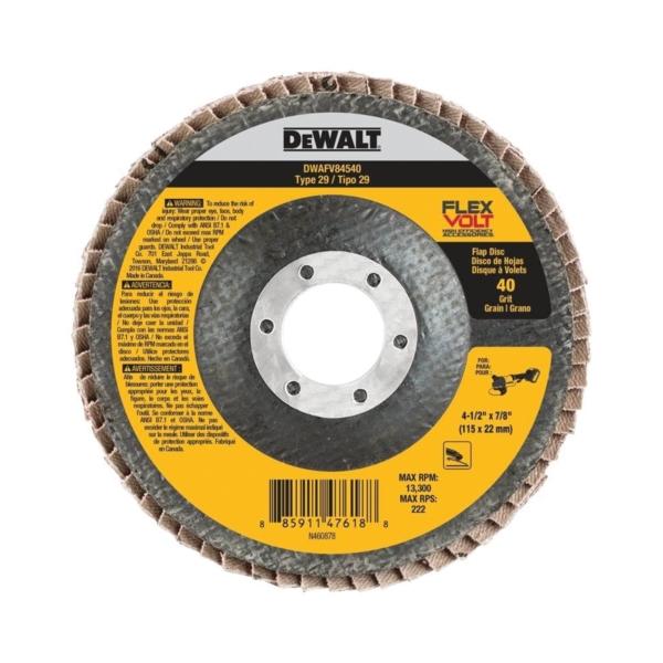 Picture of DeWALT DWAFV84540 Flap Disc, 4-1/2 in Dia, 7/8 in Arbor, Coated, 40 Grit, Ceramic Abrasive