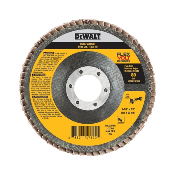 Picture of DeWALT DWAFV84580 Flap Disc, 4-1/2 in Dia, 7/8 in Arbor, Coated, 80 Grit, Ceramic Abrasive