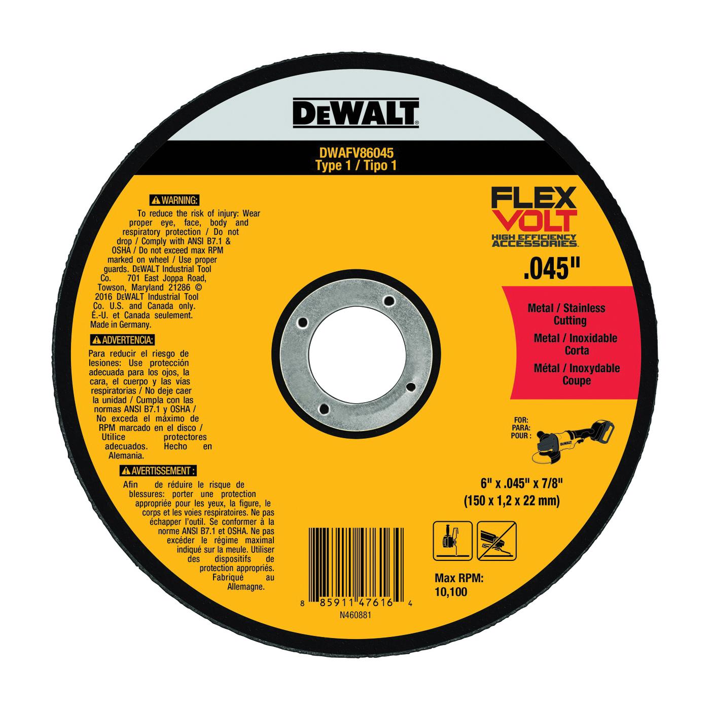Picture of DeWALT DWAFV86045 Cutting Wheel, 6 in Dia, 0.045 in Thick, 7/8 in Arbor, 24 Grit, Medium, Ceramic Abrasive