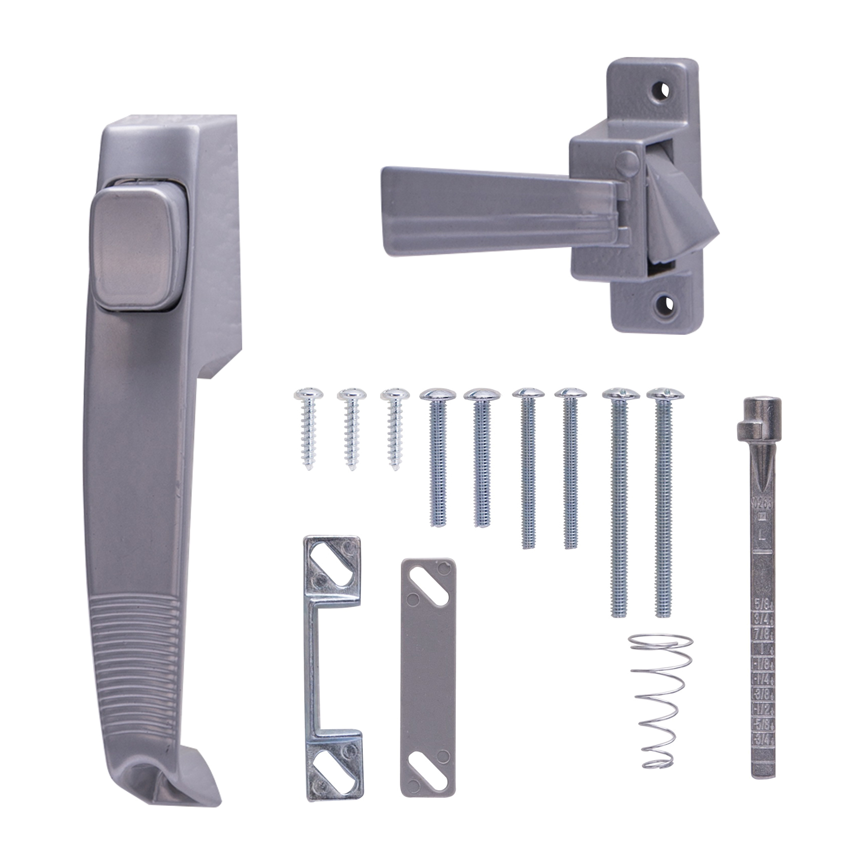 Picture of ProSource 47015-U-PS Pushbutton Latch, 5/8 to 1-1/2 in Thick Door, For: Out-Swinging Screen, Storm Doors