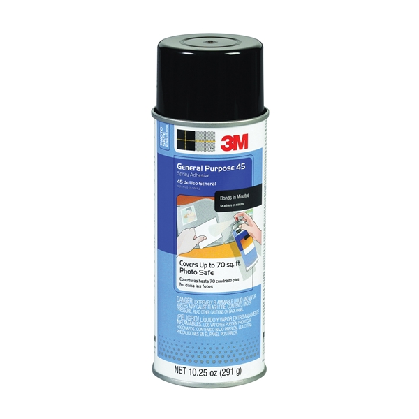 Picture of 3M 45 Spray Adhesive, Mild Solvent, Tan/White, 11 oz Package, Aerosol Can