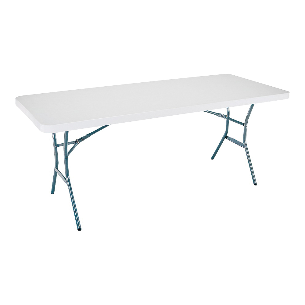Picture of Lifetime Products 5011 Fold-in-Half Table, Steel Frame, Polyethylene Tabletop, Gray/White