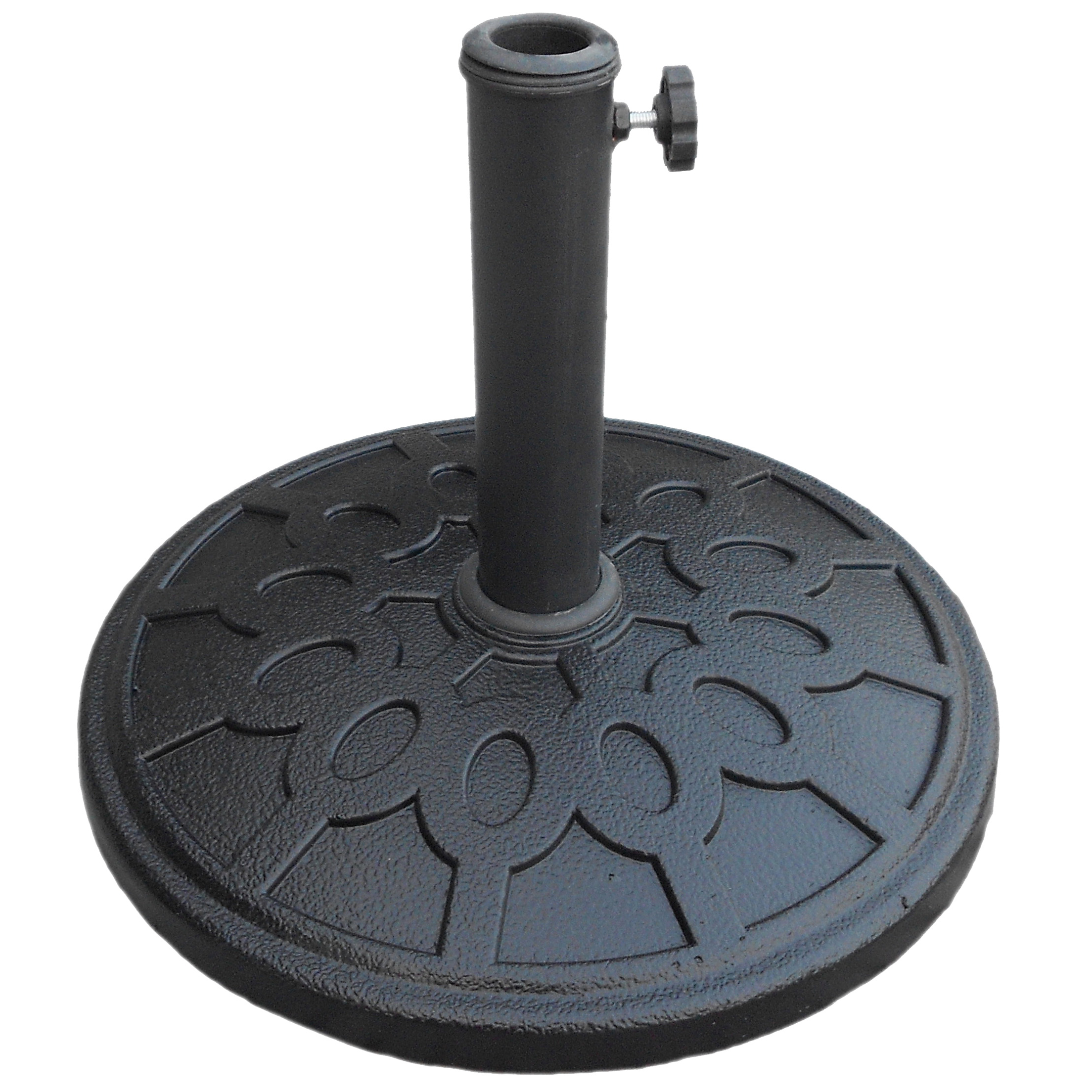 Picture of Seasonal Trends 69327 Umbrella Base, 17-1/2 in Dia, 13 in H, Round, Resin/Steel/Plastic, Black, For: Outdoor Use