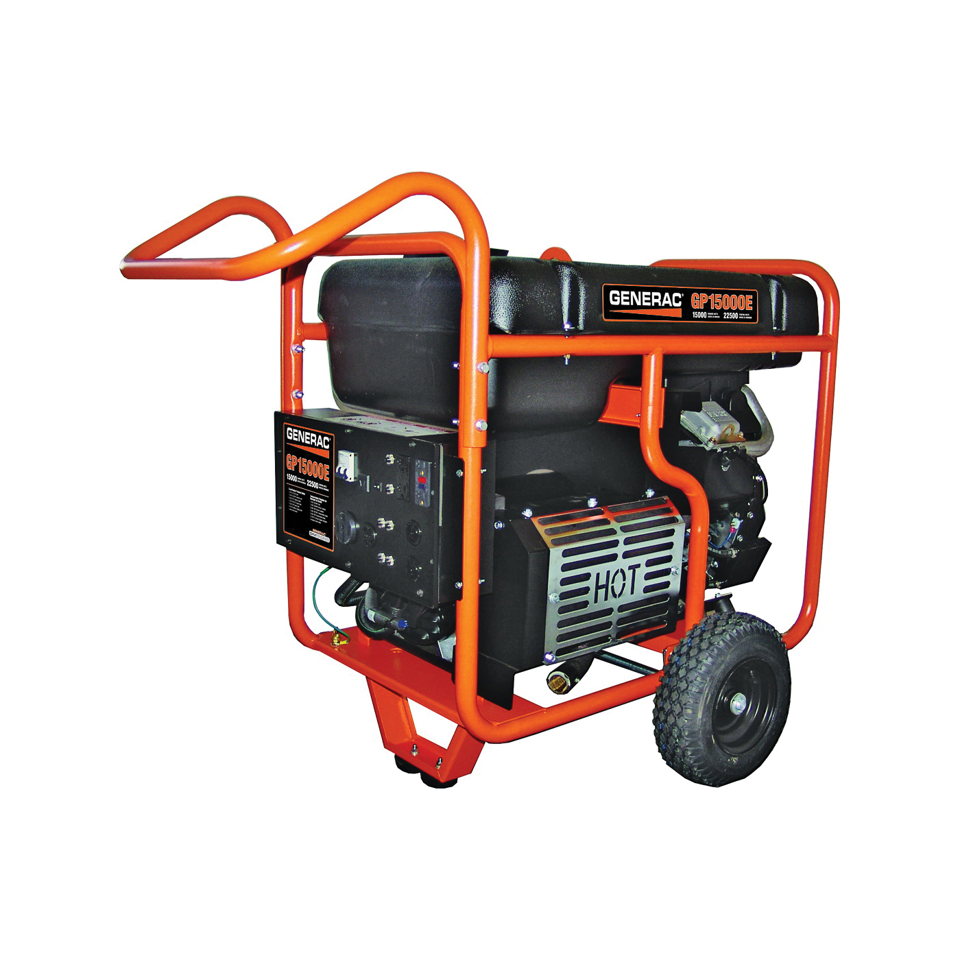 Picture of GENERAC 5734 Portable Generator, 125/62.5 A, 120/240 V, Gas, 16 gal Tank, 10 hr Run Time, Electric Start