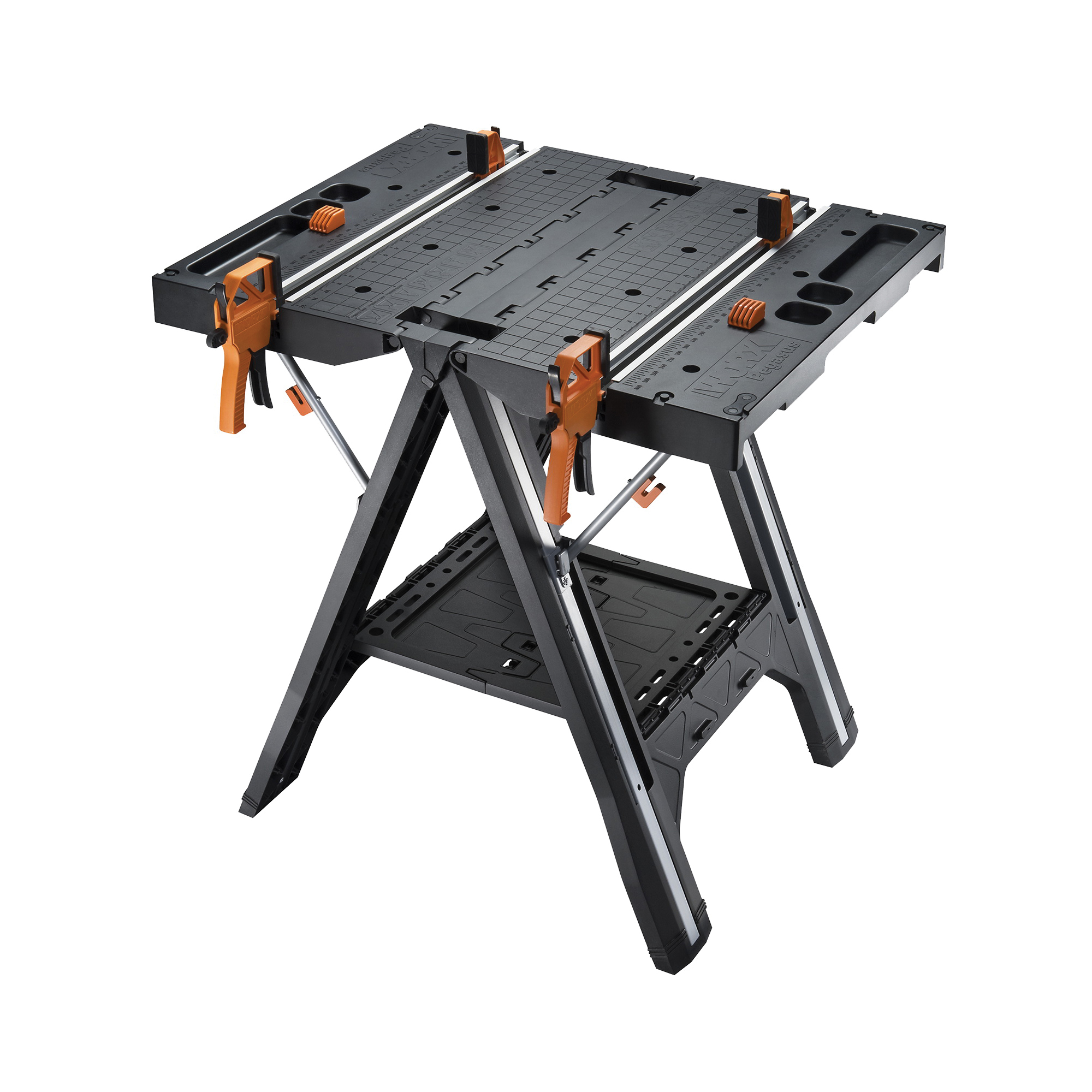 Picture of ROCKWELL WX051 Folding Work Table with Quick Clamps, 25 in OAW, 31 in OAH, 300 lb Capacity, Plastic Tabletop
