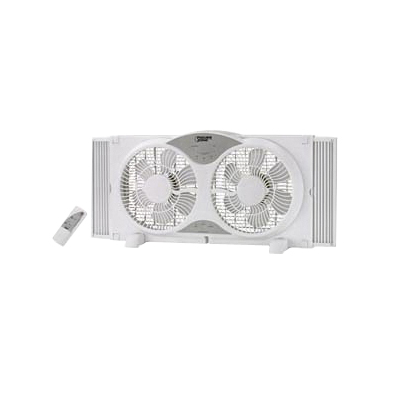 Picture of PowerZone BP2-9A Reversible Window Fan, 120 V, 9 in Dia Blade, 12-Blade, 3-Speed, Touch Panel and Remote Control