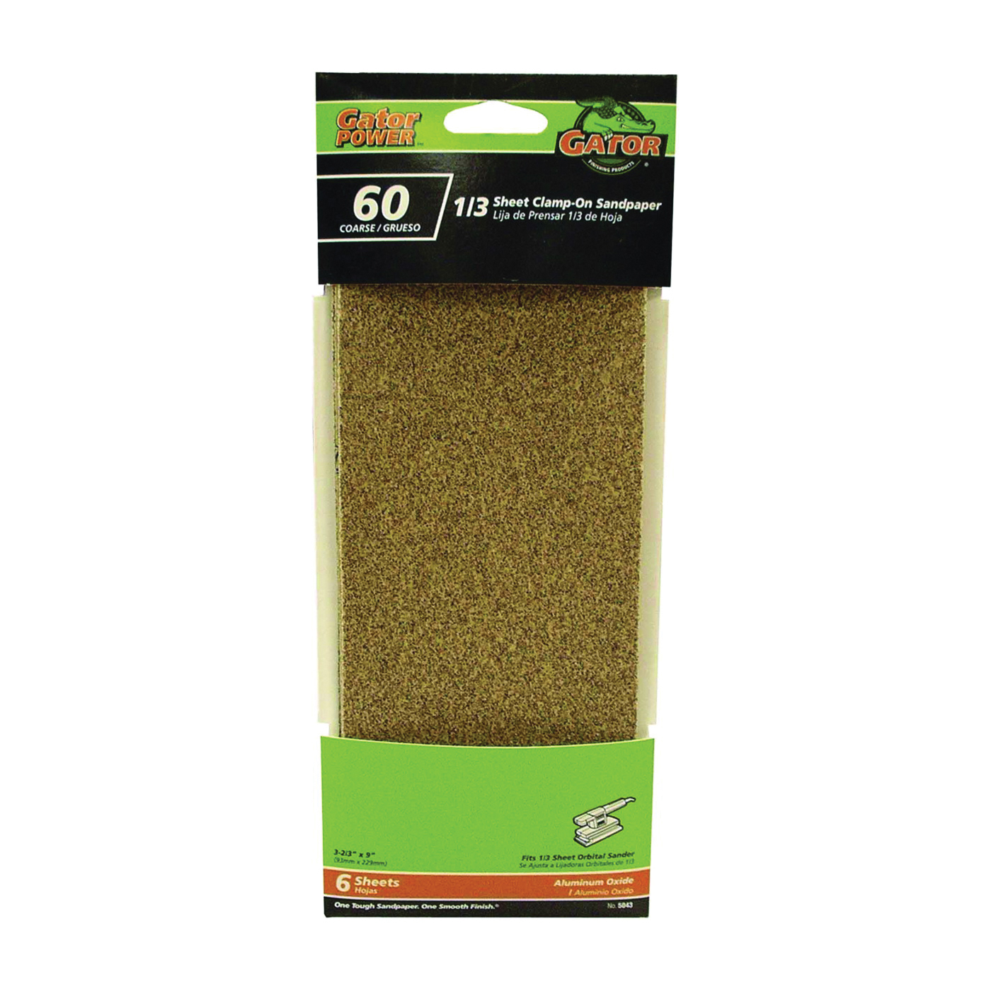 Picture of Gator 5043 Sanding Sheet, 3-2/3 in W, 9 in L, 60 Grit, Coarse, Aluminum Oxide Abrasive, Paper Backing