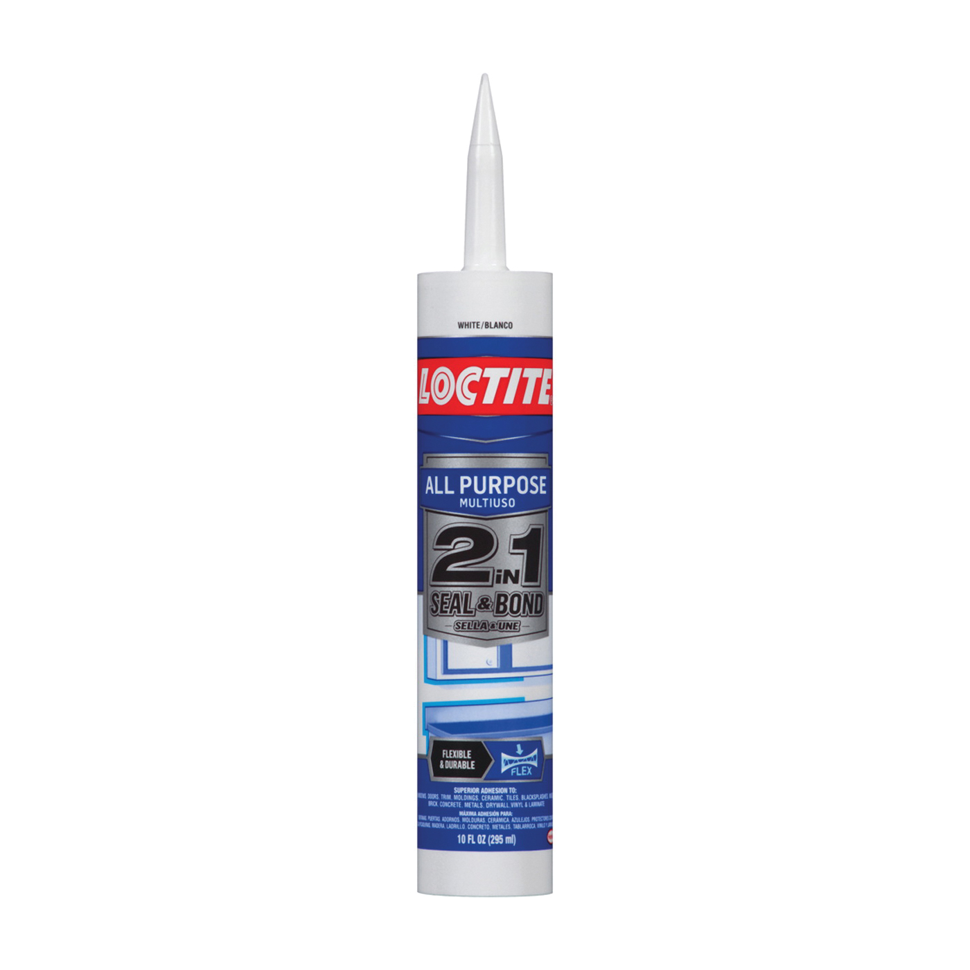 Picture of Loctite POLYSEAMSEAL 2154751 Adhesive Caulk, White, 24 hr to 2 weeks Curing, 40 to 100 deg F, 10 oz Package