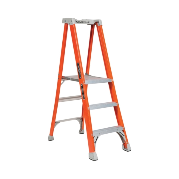 Picture of Louisville FXP1703 Platform Step Ladder, 34 in Max Standing H, 300 lb, Type IA Duty Rating, 3-Rung, 3 in D Step