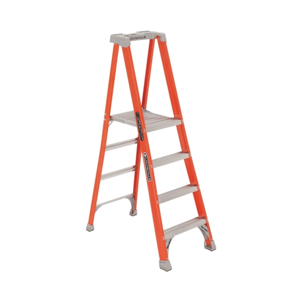 Picture of Louisville FXP1704 Platform Step Ladder, 46 in Max Standing H, 300 lb, Type IA Duty Rating, 4-Rung, 3 in D Step