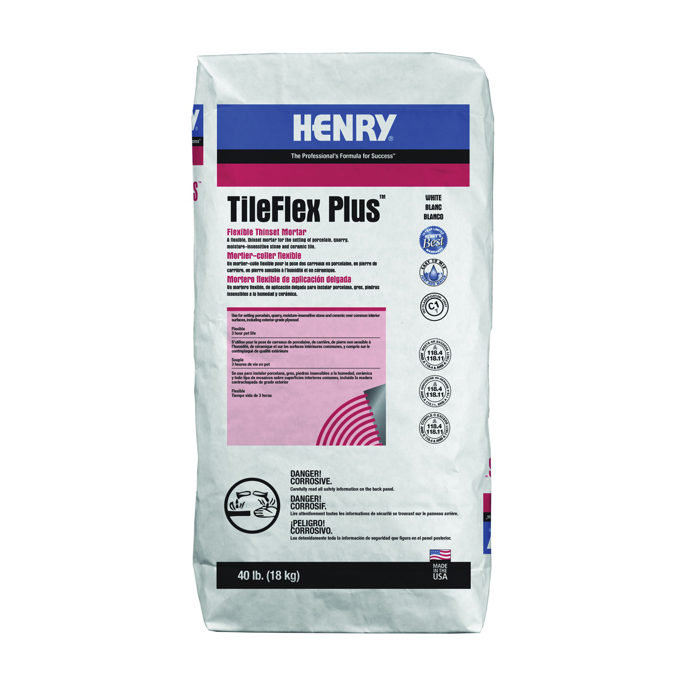 Picture of HENRY 527 TileFlex Plus Series 13081 Thin-Set Mortar, White, Powder, 40 lb Package, Bag