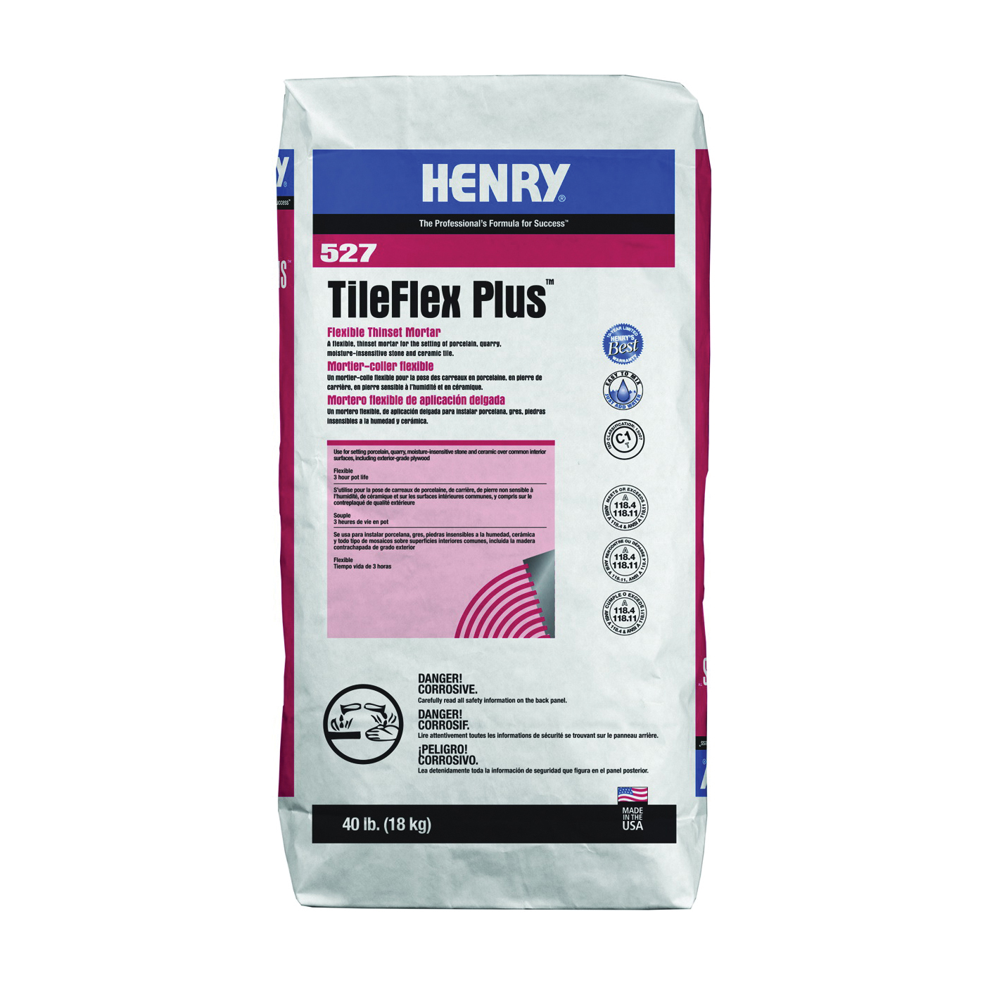 Picture of HENRY 527 TileFlex Plus Series 13080 Thin-Set Mortar, Gray, Fine Solid Powder, 40 lb Package, Bag