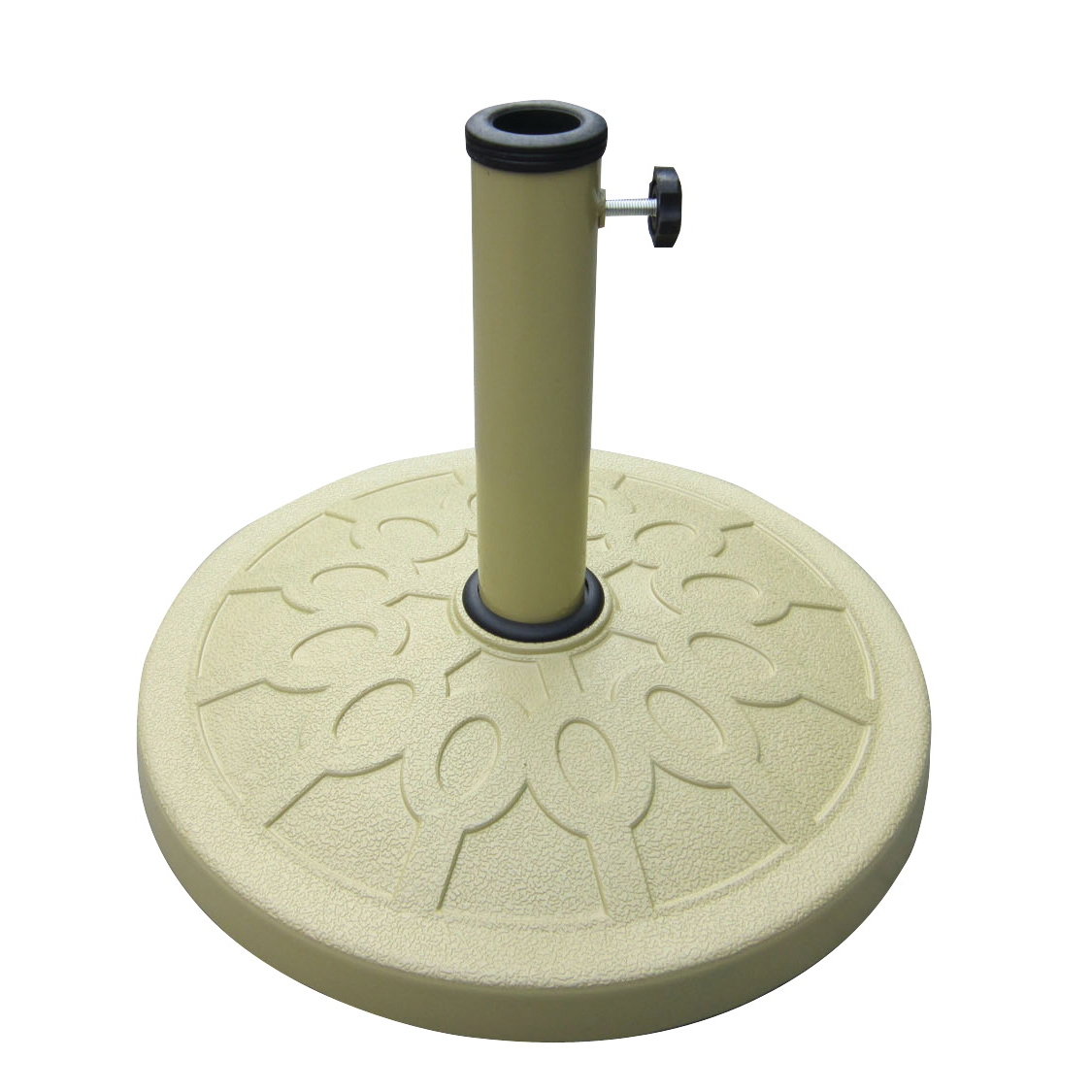 Picture of Seasonal Trends 69329 Umbrella Base, 17-1/2 in Dia, 13 in H, Round, Resin/Steel/Plastic, Sandstone