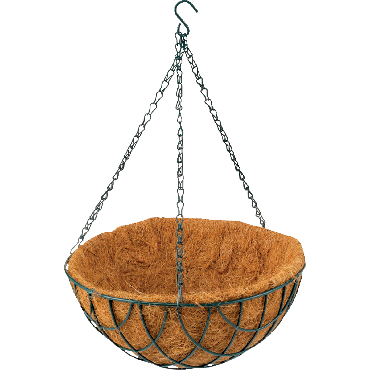 Picture of Landscapers Select GB-4303-3L Hanging Planter, Circle, 22 lb Capacity, Natural Coconut/Steel, Matte Green
