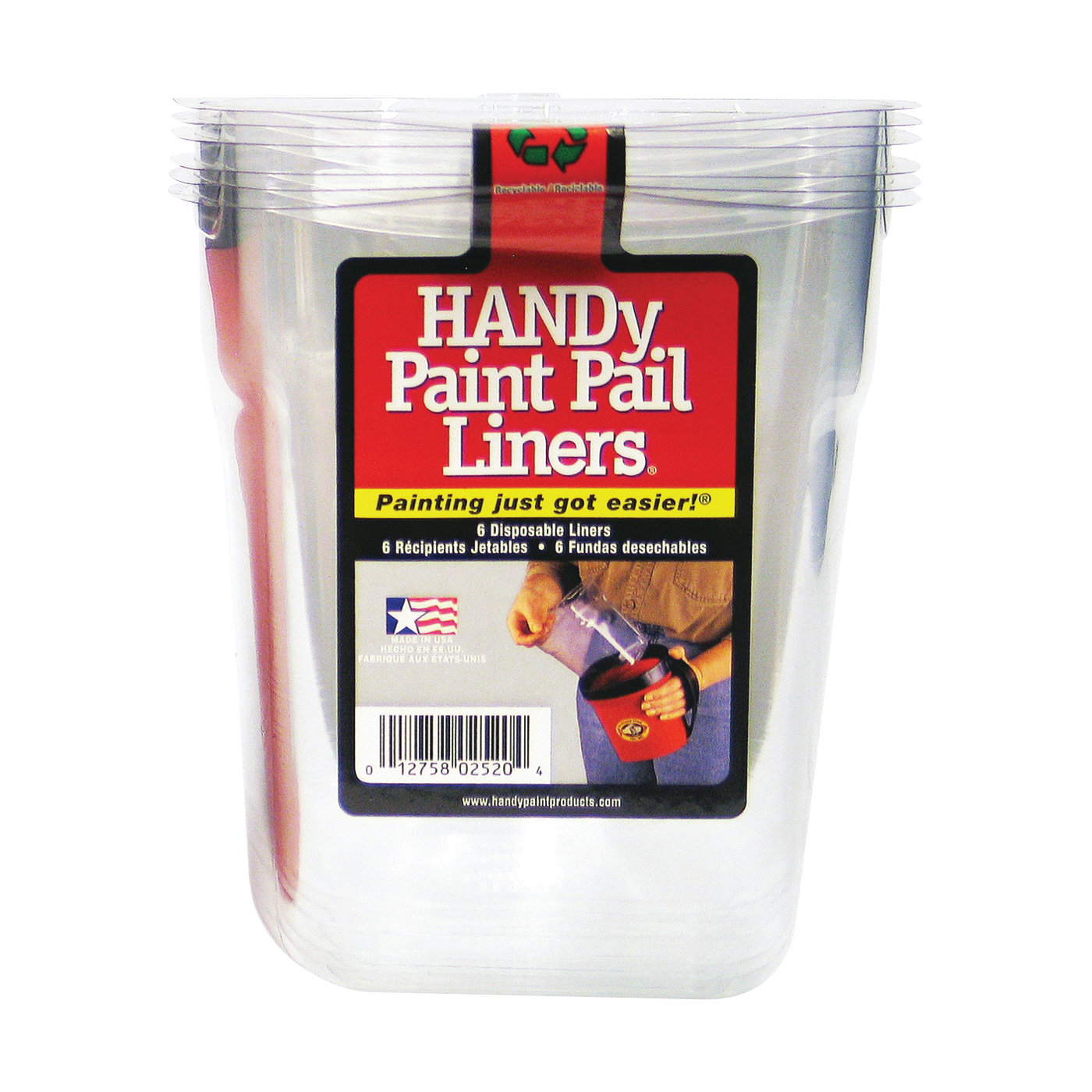 Picture of HANDy BER-2520-CT Paint Pail Liner, 1 qt Capacity, Plastic, Clear
