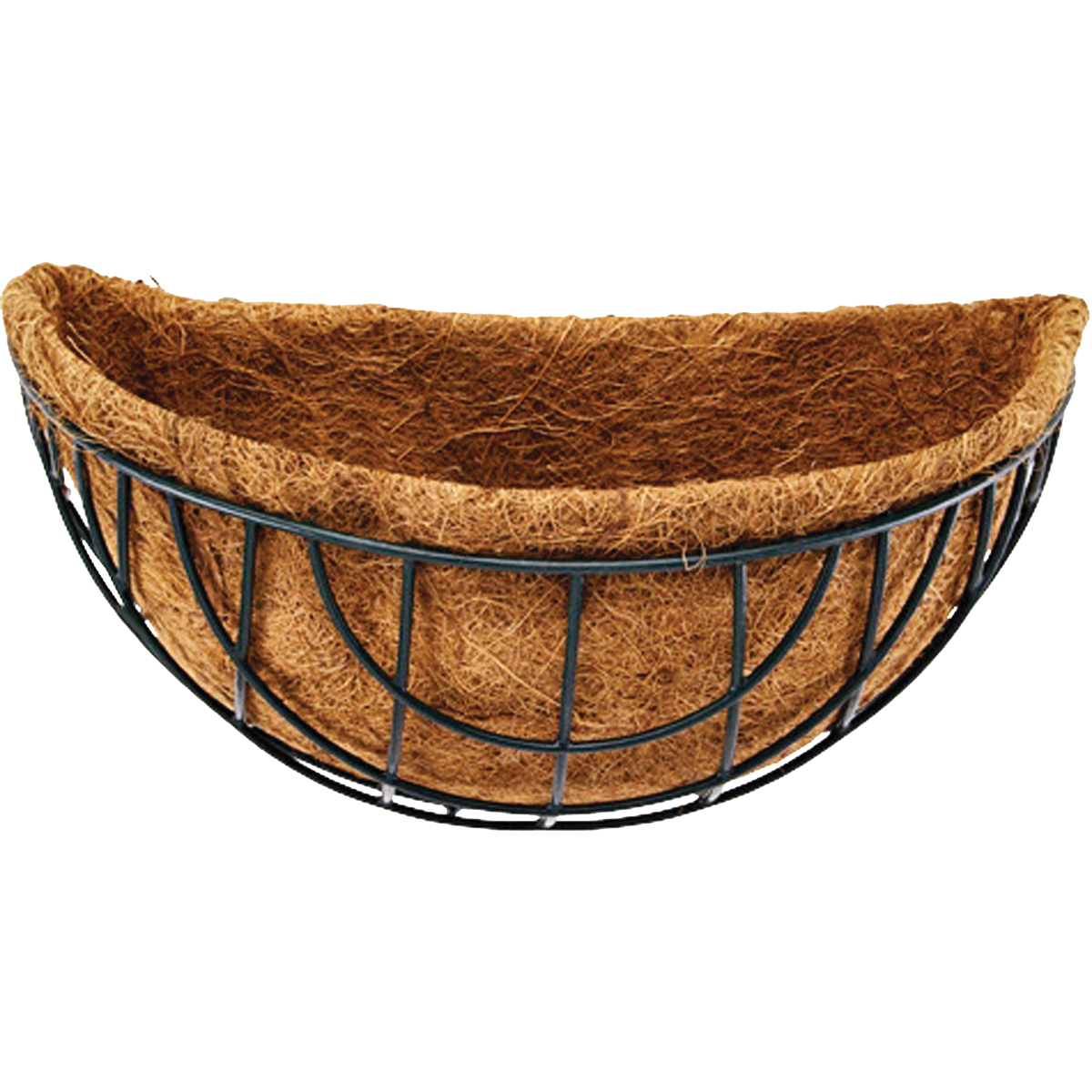 Picture of Landscapers Select GB-4315-3L Wall Basket with Natural Coconut Liner, Half-Circle, 22 lb Capacity, Matte Black