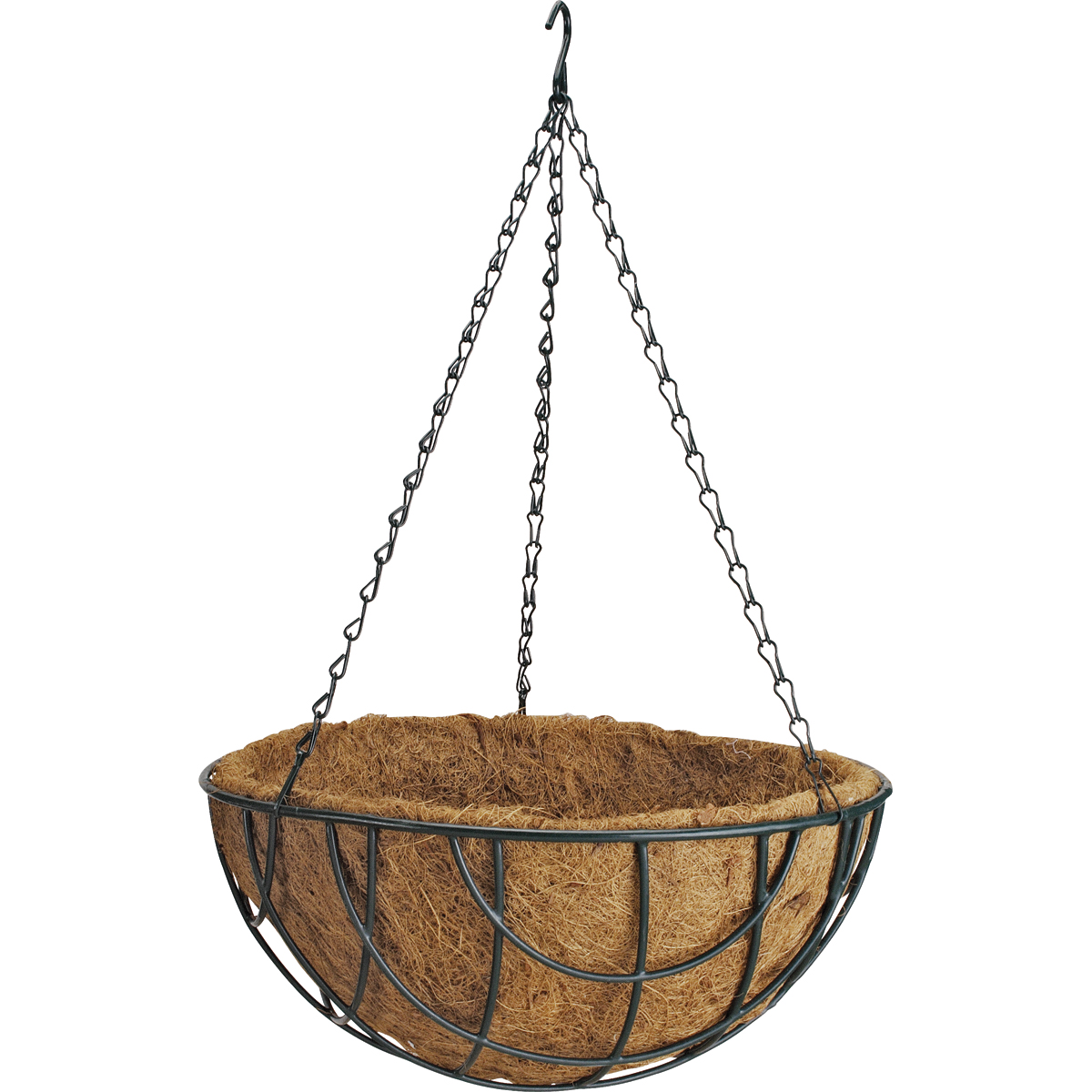 Picture of Landscapers Select GB-4337-3L Hanging Planter with Natural Coconut Liner, Circle, 22 lb Capacity, Matte Black