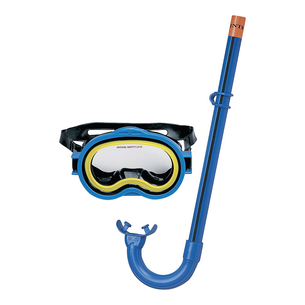 Picture of INTEX 55942 Swim Mask/Snorkel, Polycarbonate Lens, PVC Frame, Blue
