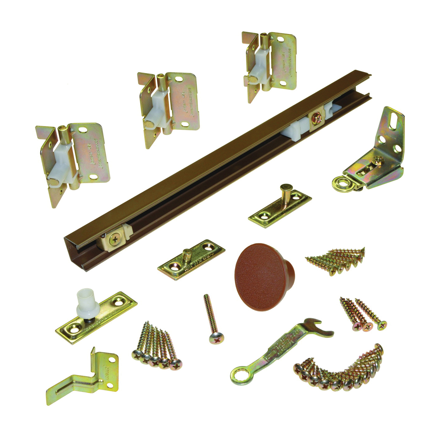 Picture of Johnson Hardware 1700363H Bi-Fold Hardware Set, 3/4 to 1-3/4 in Thick Door, Top Mounting, For: Panels