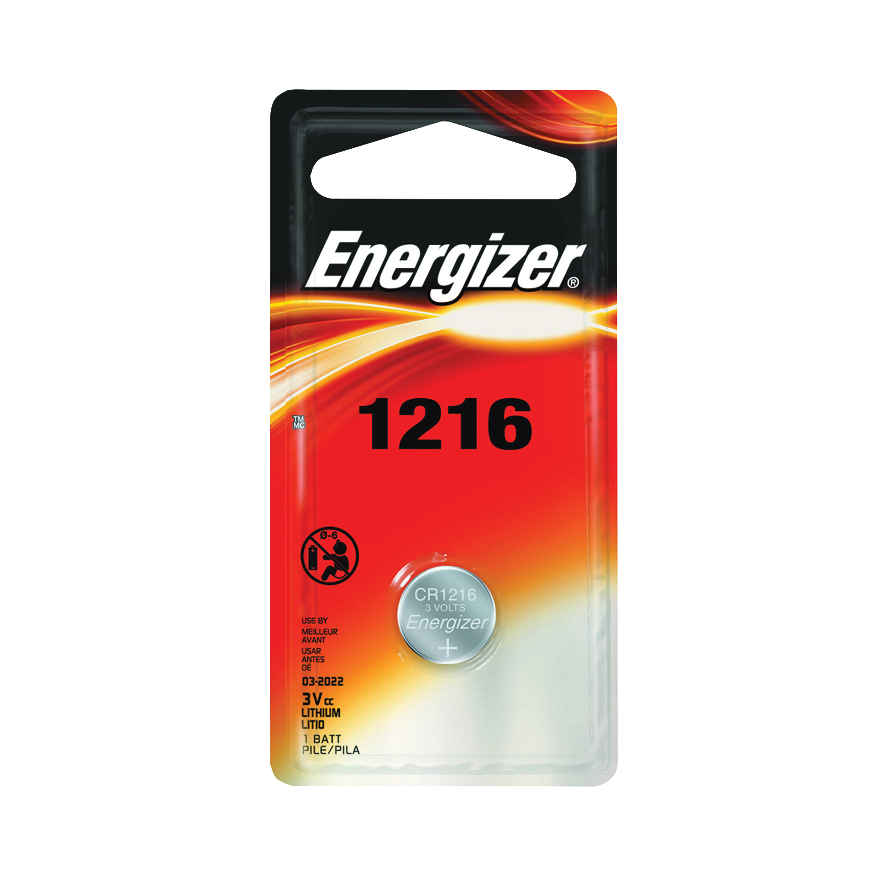 Picture of Energizer ECR1216BP Coin Cell Battery, 3 V Battery, 25 mAh, CR1216 Battery, Lithium, Manganese Dioxide