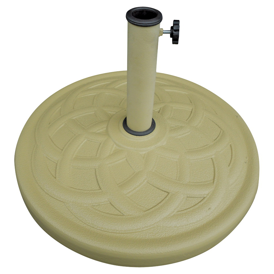 Picture of Seasonal Trends 69332 Umbrella Base, 21.65 in Dia, 13.2 in H, Round, Resin/Steel/Plastic, Sandstone