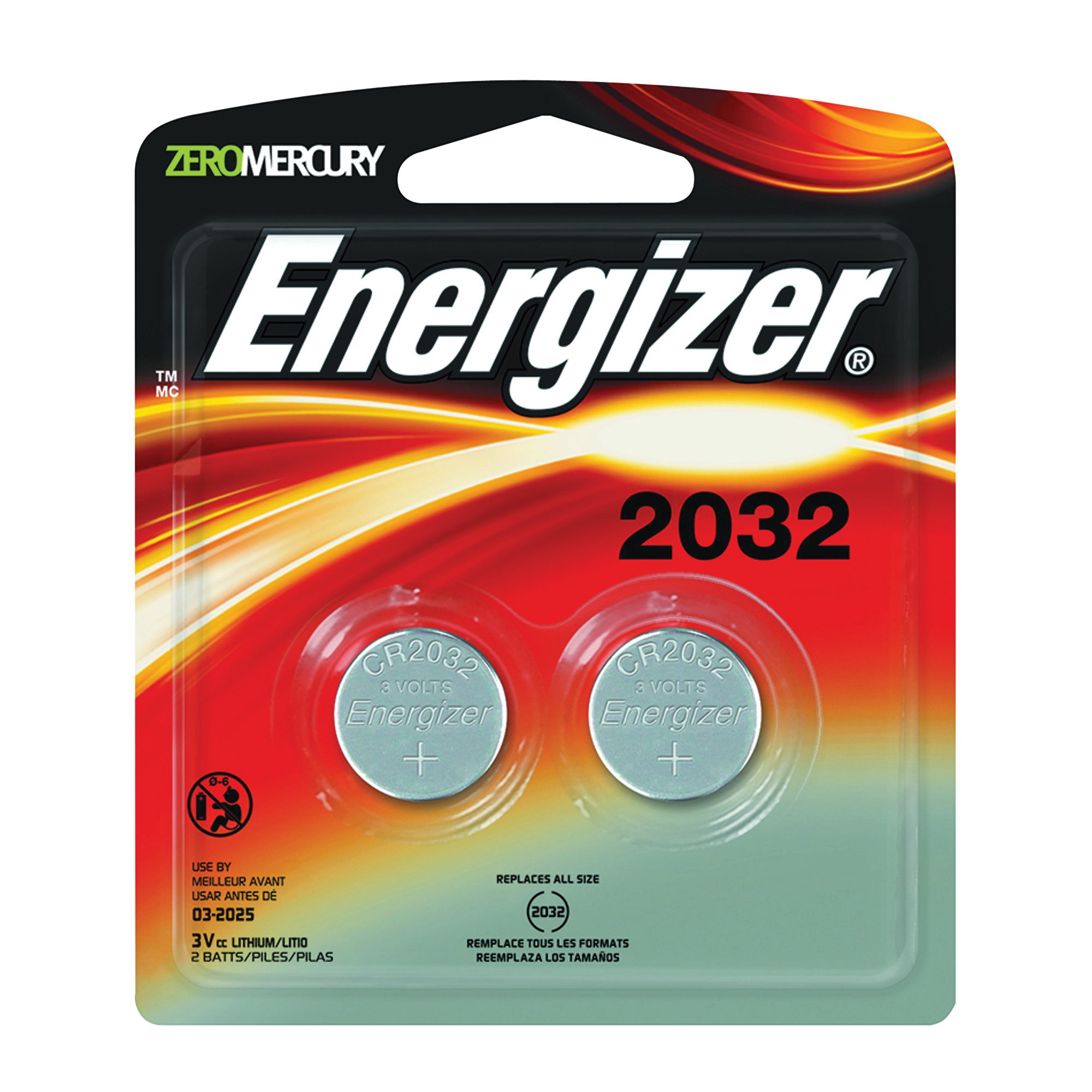 Picture of Energizer 2032BP-2 Coin Cell Battery, 3 V Battery, 235 mAh, CR2032 Battery, Lithium, Manganese Dioxide
