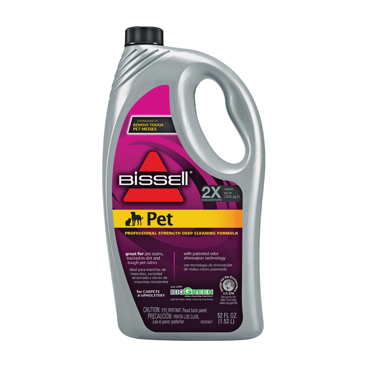 Picture of BISSELL 72U81 Carpet Cleaner, 52 oz Package, Bottle, Liquid, Characteristic, Pale Yellow