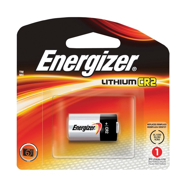 Picture of Energizer EL1CR2 Series EL1CR2BP Lithium Battery, 3 V Battery, 800 mAh, CR2 Battery, Lithium, Manganese Dioxide