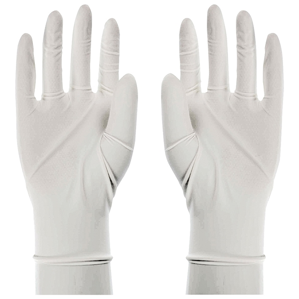 Picture of BOSS 1UL0004-L Seamless Powdered Disposable Gloves, L, 9-1/2 in L, Rolled Cuff, Latex, White