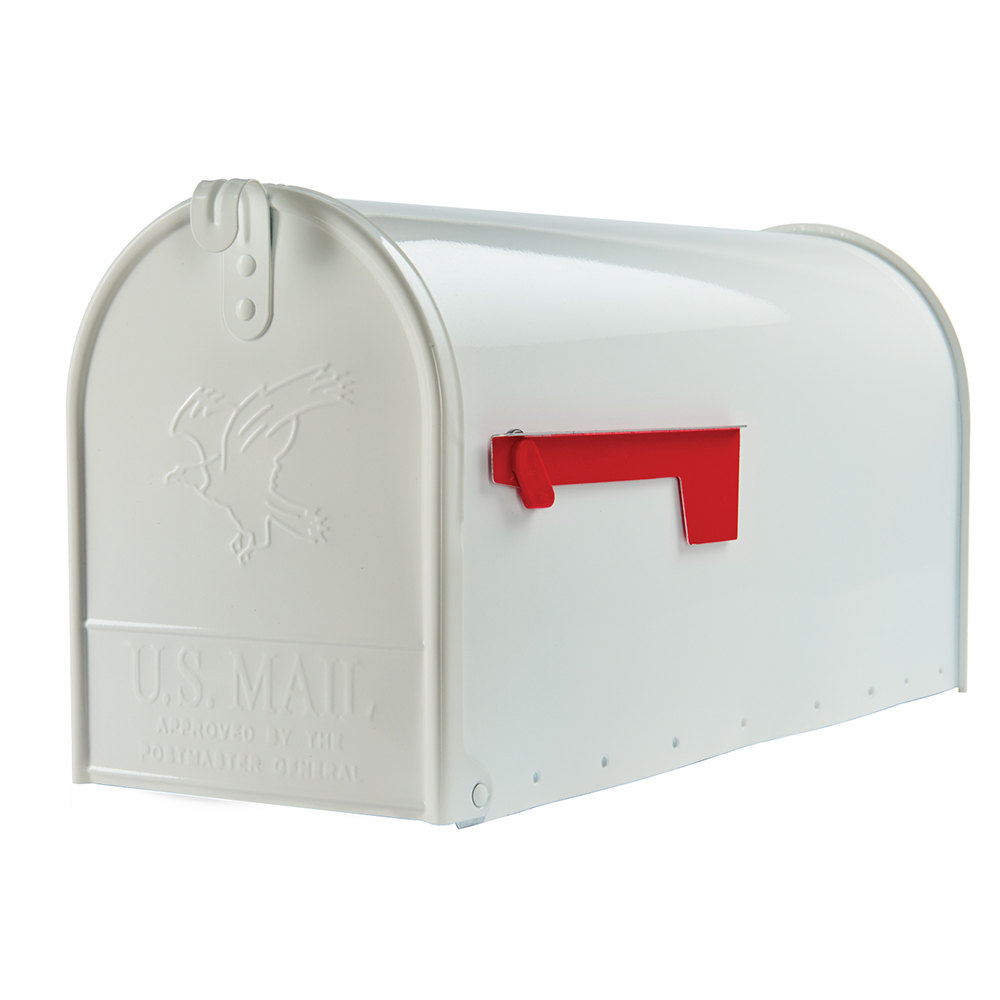 Picture of Gibraltar Mailboxes Elite E1600W00 Mailbox, 1475 cu-in Capacity, Galvanized Steel, Powder-Coated, 8.7 in W, White